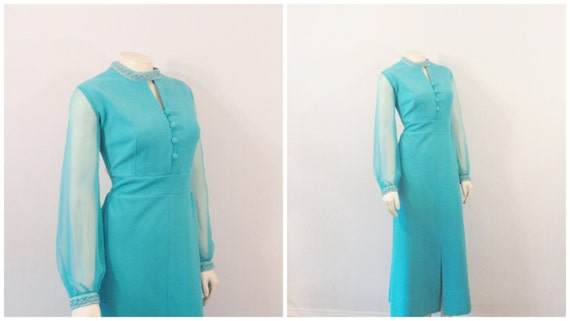 60s Formal Turquiose Dress | Chiffon Sleeves| Embe