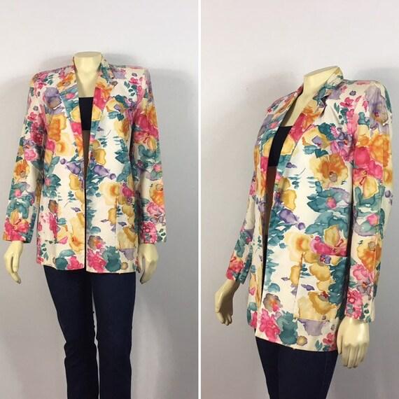 80s Oversized Vintage Floral Blazer Focus Cotton W