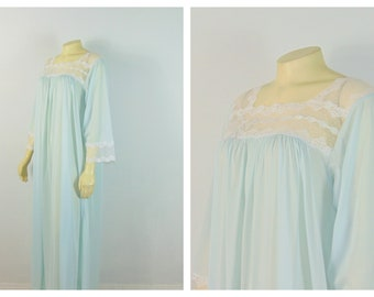 70s 80s Vintage Windy Rose Nightgown| Baby Blue White Lace Trim| New With Tags Deadstock Fits Modern Large XL 1X 2X