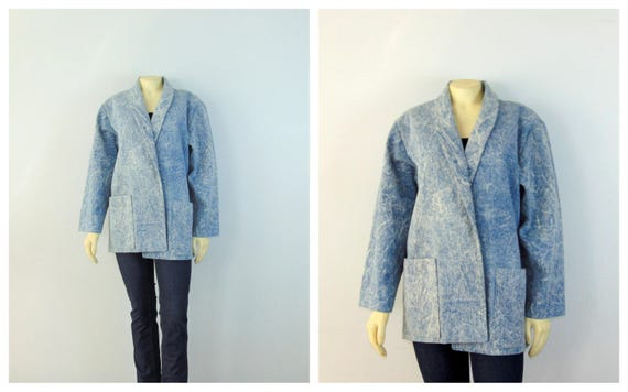 Vintage Blazer 80s Acid Wash Blue Jean Oversized B