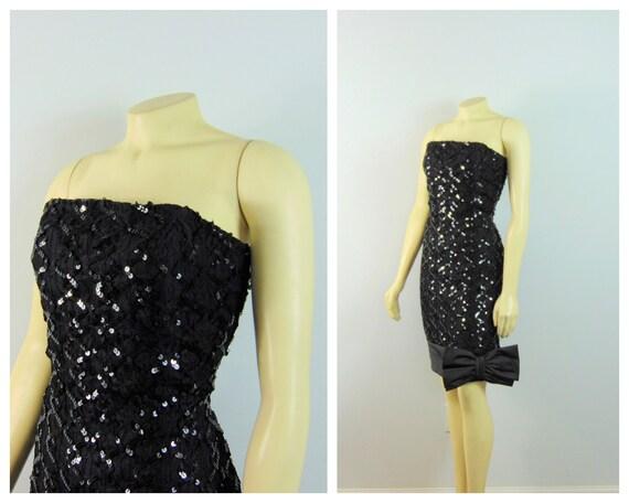 fabulous gorgeous 80s dress big bow fancy dress teal dazzle black 1980s Vintage PROM SEQUINS Fancy Dress...size small