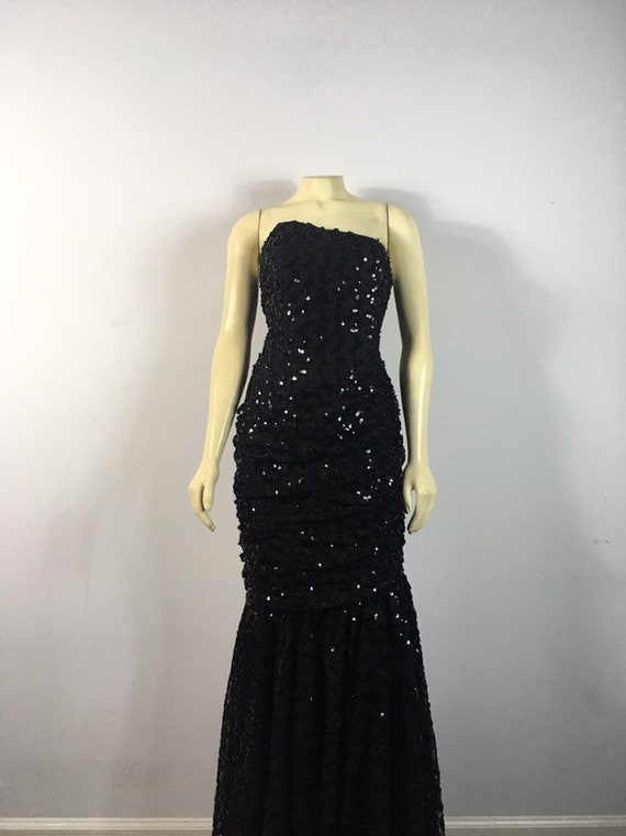 80s Glamour| Black Sequin Evening Gown| Black Seq… - image 7