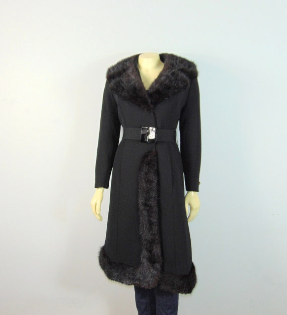 30s 40s Princess Fur Trim Wool Coat| Belted Princ… - image 3
