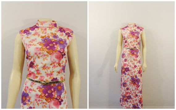 60s 70s Pink Floral Dress| 60s 70s Sleeveless Full