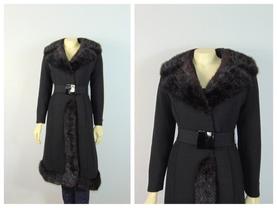30s 40s Princess Fur Trim Wool Coat| Belted Princ… - image 1