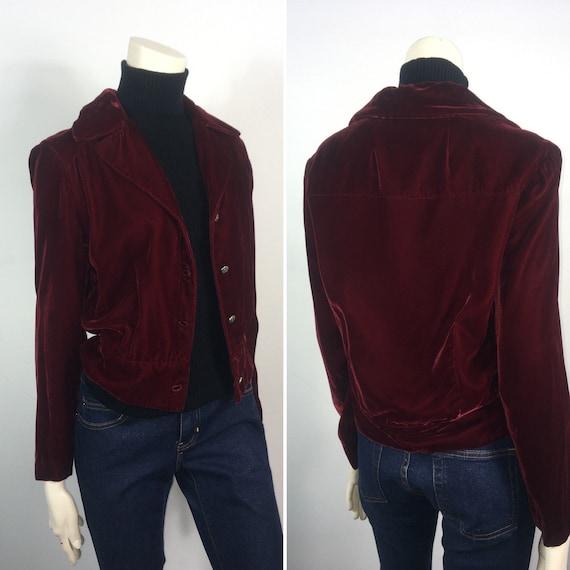 30s 40s Velvet Suit  Vintage Velvet Jacket & Skir… - image 3