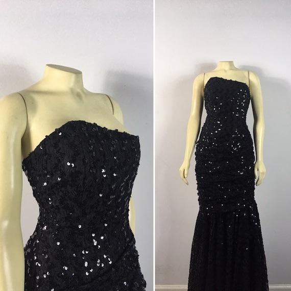 80s Glamour| Black Sequin Evening Gown| Black Sequ