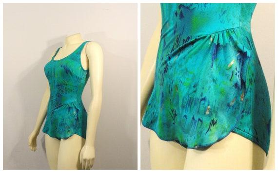 80s Jantzen Swimsuit| Teal Green Skirted Swimsuit|