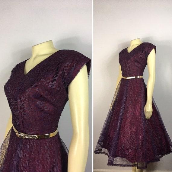 50s Vintage Lace Dress| 50s New Look Hostess Dress