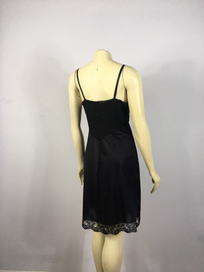 Size 34 fits modern Small to Medium Black Lace Slip Union Made in USA Black Vanity Fair Dress Slip Vintage Vanity Fair Slip