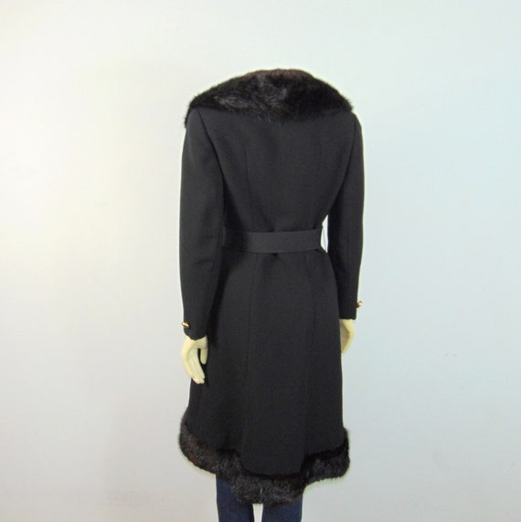 30s 40s Princess Fur Trim Wool Coat| Belted Princ… - image 5