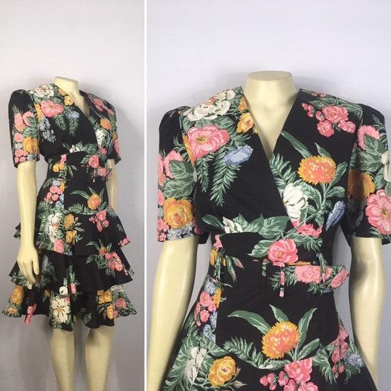 80s 90s Black Floral Ruffle Hem Dress| 100% Cotton
