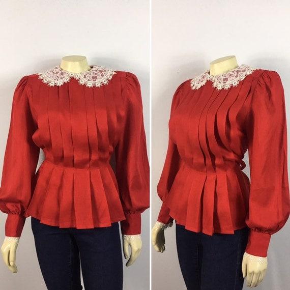 Unique 80s Blouse| Josephine Red Pleated Blouse| B