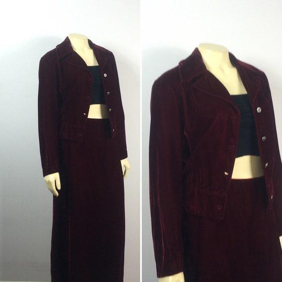 30s 40s Velvet Suit  Vintage Velvet Jacket & Skir… - image 7