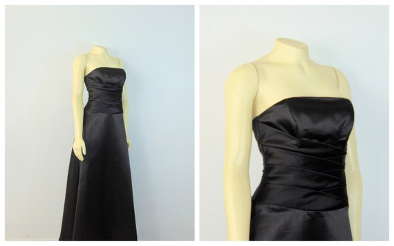 90s Black Prom Dress| 90s Formal Gown| Removable S