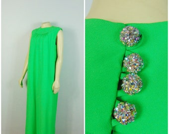 Vintage Dress 60s Full Length Formal Gown Mary K Dress Studios Mod Gown Iridescent Rhinestone Buttons Modern Size Large