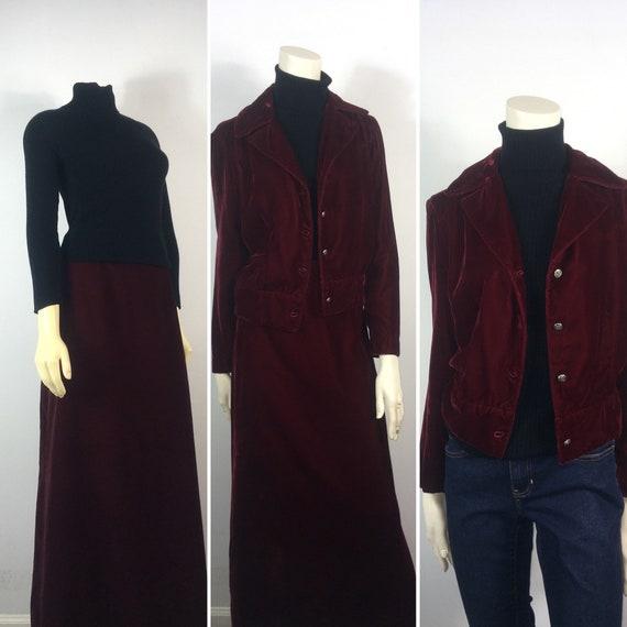 30s 40s Velvet Suit| Vintage Velvet Jacket & Skirt