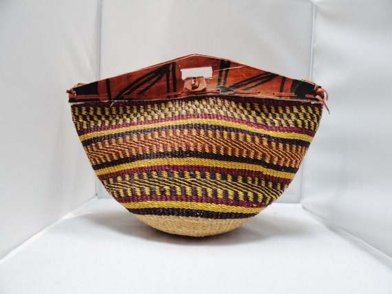 Vintage Purse Ghanaian Handmade Straw Shoulder Bag