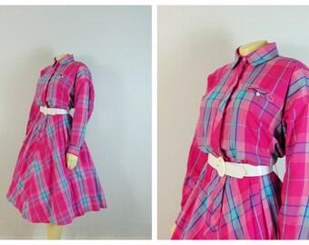 Vintage Dress 70s 80s Plaid Shirtwaist Dress | Pink Blue Aqua Plaid| Long Sleeve Dress| Modern Size Large to Extra Large L - XL