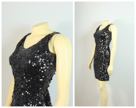 1980s 80s Vintage Dress | Black Sequin Fitted Dres