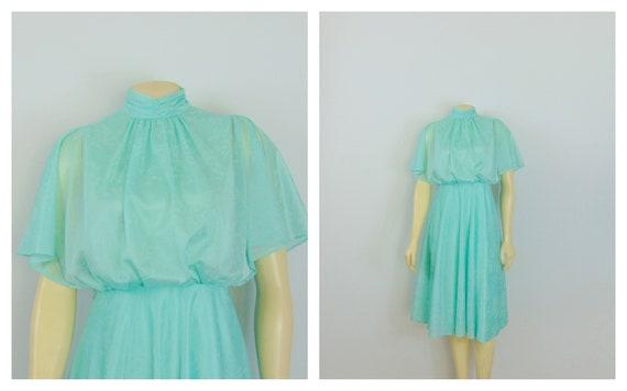 Pretty 70s Seafoam Dress Filmy Blouse Union Made M