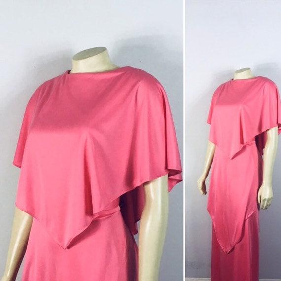 70s Plus Size Formal Dress| Belted Pink Formal Dre