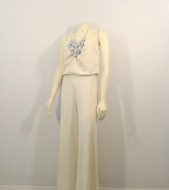 70s Wide Leg Jumpsuit/ Palazzo Pants Jumpsuit| Iv… - image 3