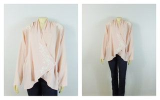 RARE Victoria's Secret Vintage Jacket  Oversized 80s Jacket Baby Pink & White Embroidered Shoulder Pads Deadstock NWT S Modern S M L Xl