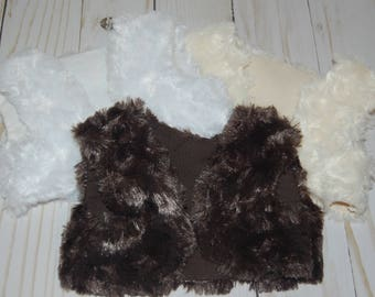 SALE-fits American Girl Doll clothes/18 inch doll clothes/doll faux fur vest/AG inspired doll clothes/doll top