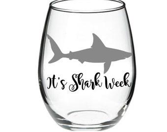 Shark - Shark Wine Glass - It's Shark Week 15 oz Stemless Wine Glass