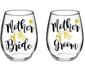 Stepmother of the Bride Mother of the Bride 17 oz stemless wine glass