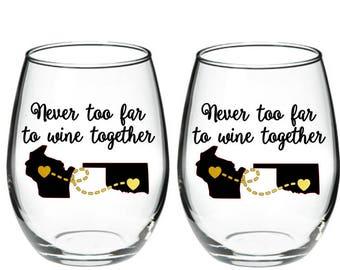 Best Friend Wine Glass - Long Distance Friendship Gift - Friendship Long Distance - Friendship Distance - 15 oz Stemless Wine Glass SET OF 2