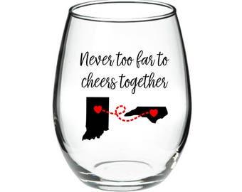 Best Friend Wine Glass - Long Distance Friendship Gift - Friendship Long Distance - Friendship Distance -15 oz Stemless Wine Glass