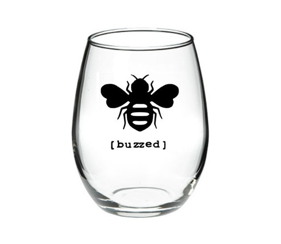 Buzzed Funny Bumble Bee Stemless Wine Glass Gift for Her 21 oz
