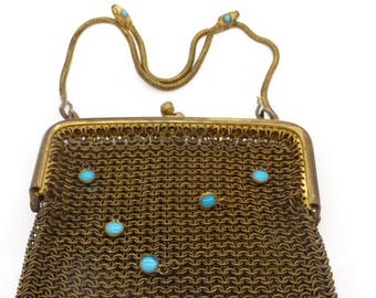 Vintage Art Deco Serpent Snake Gold Metal Blue Bezel Set Evening Purse