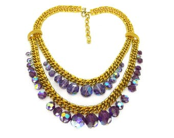 Vintage Gold Tone Double Row Purple Glass Bead Statement Necklace