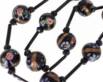 Antique Edwardian Venetian Black Fancy Rose Glass Bead Necklace