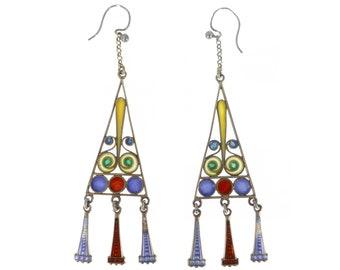 Antique Art Deco Silver Colourful Enamel Secessionist Earrings