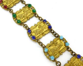 Vintage Art Deco Egyptian Revival Pharaoh Rainbow Glass Bracelet