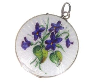 Antique Edwardian Silver Guilloche Enamel Purple Flower Locket (AF)