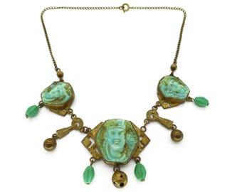 Vintage Art Deco Egyptian Revival Pharaoh Glass Panel Necklace