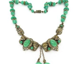 Vintage Art Deco Czech Peking Glass Filigree Bow Glass Bead Necklace