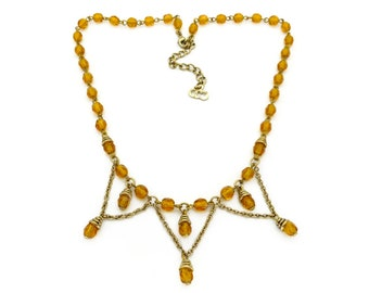 6d26dd237479 Vintage Christian Dior Amber Glass Egyptian Inspired Beaded Necklace