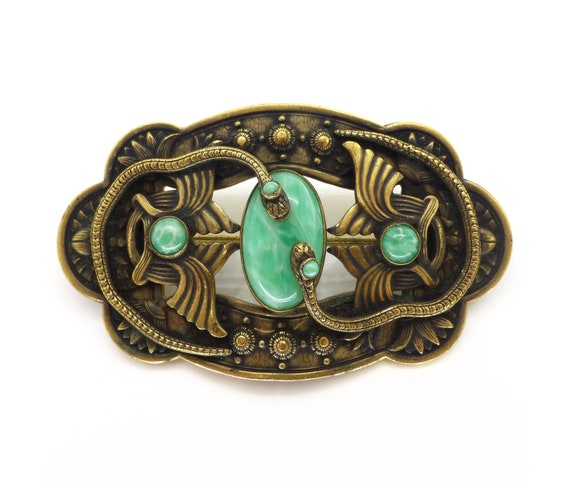 Vintage Czech Art Deco Peking Glass Snake Egyptian
