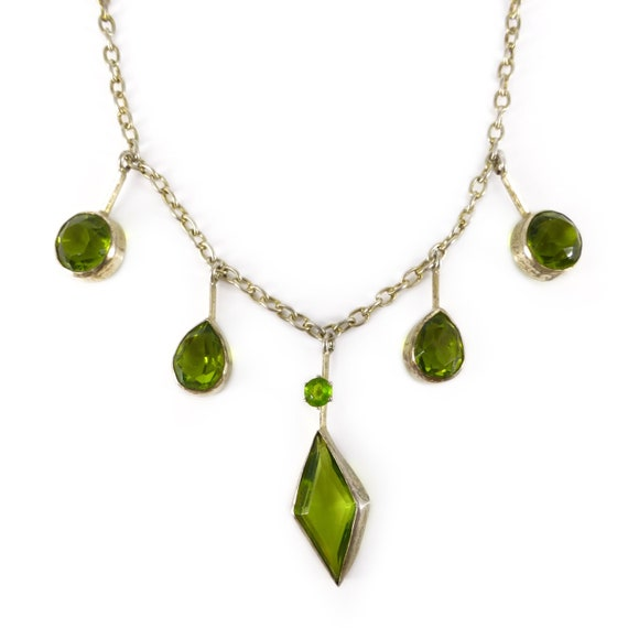 Antique Edwardian Peridot Glass Diamond Drop Neckl