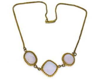 Vintage 1940s Pink Opaline Glass Panel Necklace