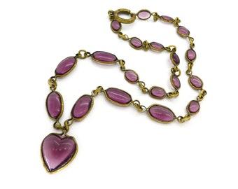 Vintage Art Deco Bezel Set Purple Glass Heart Panel Necklace