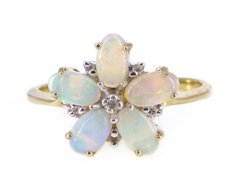 Contemporary 9ct Gold Opal & Diamond Floral Ring