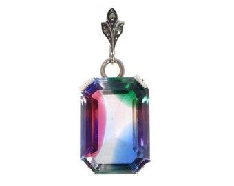 Antique Art Deco Silver Iris Glass Pendant