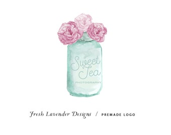 Custom Logo Design Premade Logo with Watermark for Photographers and Small Businesses Hand Drawn Watercolor Mason Jar with Peonies  Vintage